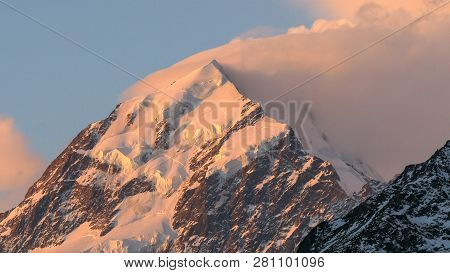 An Extreme Close Up Shot Of The Summit Of Mt Cook At Sunset