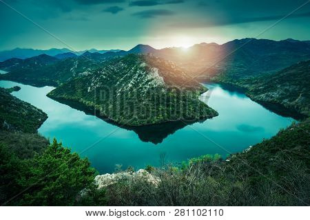 The Hill Called The Green Pyramid And The Bend Of The Rijeka Crnojevica River, Skadar Lake National
