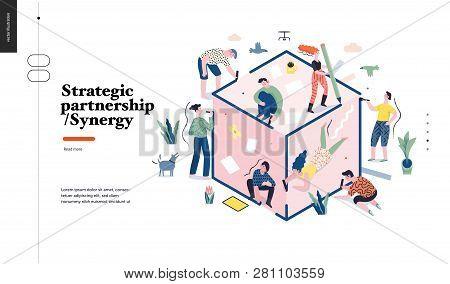 Technology 1 -strategic Partership - Synergy Flat Vector Concept Digital Illustration Partnership An