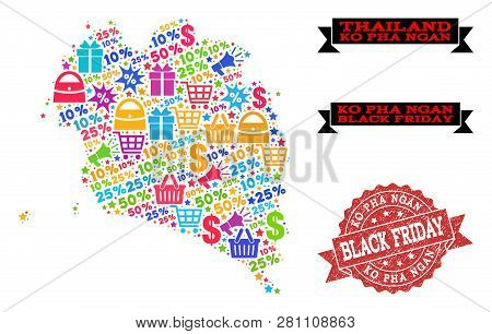 Black Friday Composition Of Mosaic Map Of Ko Pha Ngan And Grunge Seal. Vector Red Seal With Corroded