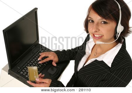 Placing An Order On Her Computer