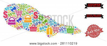 Black Friday Combination Of Mosaic Map Of Pico Island And Rubber Stamp Seal. Vector Red Seal With Un