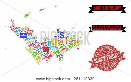 Black Friday Composition Of Mosaic Map Of Saint Barthelemy And Rubber Stamp. Vector Red Watermark Wi