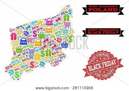Black Friday Collage Of Mosaic Map Of West Pomerania Province And Dirty Stamp Seal. Vector Red Seal
