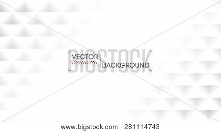 White Abstract Background Pattern Texture. Light Geometric Triangles Wallpaper Backdrop.  Vector. Bu
