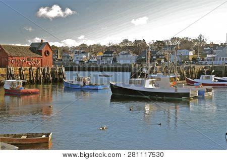 Rockport, Massachusetts, December 24, 2016: Motif Number 1 Is A Fishing Shack Built In 1840 In Rockp