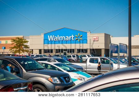 Chicago, USA - September 25, 2018: Walmart supermarket sign at day time