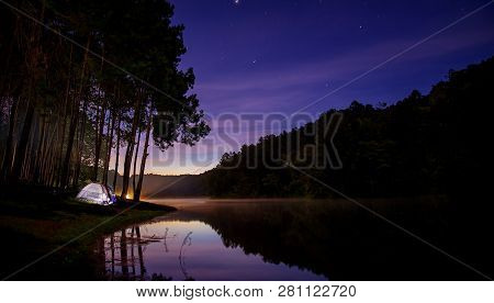 Landscape Of Night Camping With Stars In Pang Ung Pine Woods Forest And Nature, Mae Hong Son, Thaila