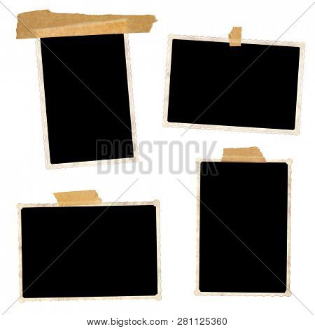 Set of retro photo frames with adhesive tape. Collection of vintage scrapbooking elements. Isolated on white background. Mock up template