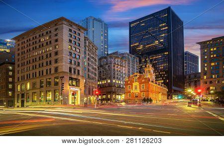 Church In The City And Road, Boston City, Usa, America