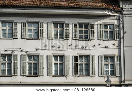 Historic Building In Lucerne, Switzerland. Lucerne (luzern) Is A Beautiful Small City In The Heartla