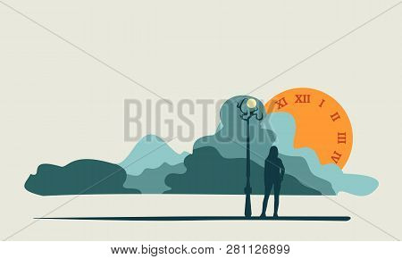 Attractive Fashionable Woman Standing At Streetlight. Abstract Cloudscape With Sun Like A Clock