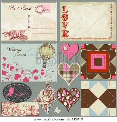 Vintage love set, postcards, hearts, roses, labels and seamless patterns