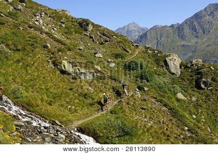 On hiking trails, Swiss Alps
