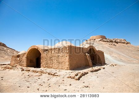Ruins of Zoroastrian Towers of Silence in Yazd. Iran. poster