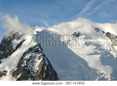 The French Mountain Mont Blanc Highest Summit Of The European Alps With Small Clouds