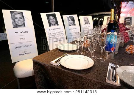 LOS ANGELES - JAN 24:  SAG Awards table settings example at the 25th Annual Screen Actors Guild Awards behind the scenes at the Shrine Auditorium on January 24, 2019 in Los Angeles, CA