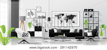 Interior Background With Living Room In Modern Black And White Scandinavian Style , Vector , Illustr