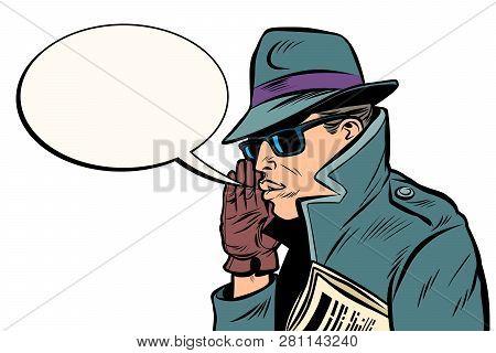 Spy Secret Agent Whisper. Comic Cartoon Pop Art Retro Vector Illustration Drawing