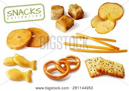 Croutons Crackers Pretzels Biscuits Crispy Bread Sticks Realistic Baked Snacks Appetizing Closeup Im