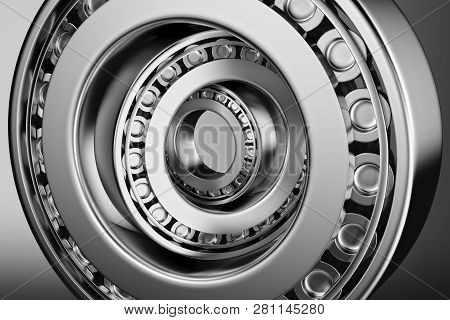 3d Rendering. Automotive Bearings Auto Spare Parts. Tapered Roller Bearing Isolated On A Dark Backgr