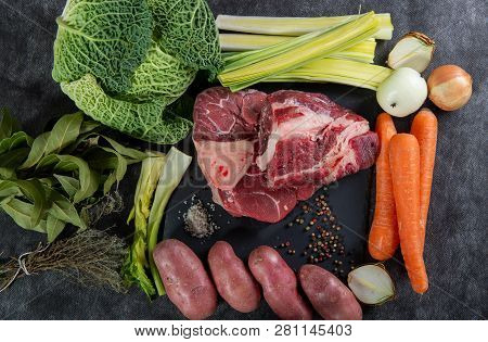 Meat And Vegetables For Preparation Of A French Pot Au Feu