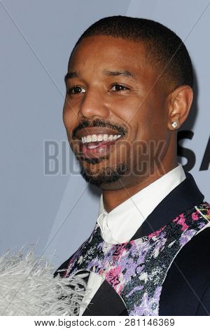 LOS ANGELES - JAN 27:  Michael B Jordan at the 25th Annual Screen Actors Guild Awards at the Shrine Auditorium on January 27, 2019 in Los Angeles, CA