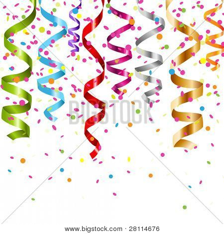 Multicolor Curling Stream, Isolated On White Background, Vector Illustration
