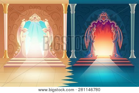 Vector Illustration With Heaven And Hell Gates. Decoration With Humbly Praying Angels And Scary Horn