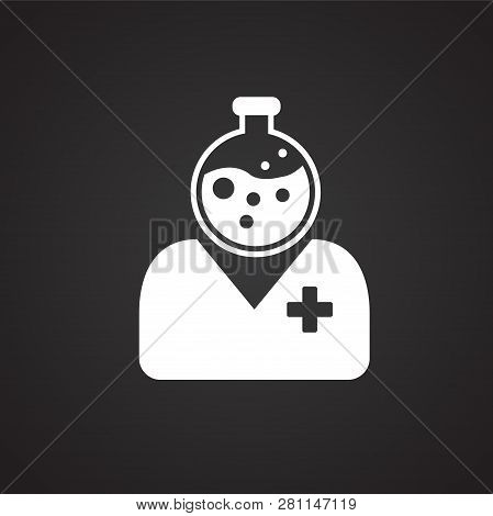 Medical Personnel On Black Background Icon For App Or Web Using