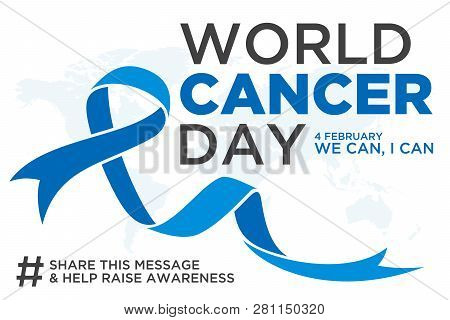 World Cancer Day Lettering Element Design With Blue Color Ribbon On White Background. Vector Illustr