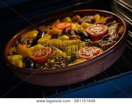 Valencian oven style rice - Arroz al Horno from Valencia.