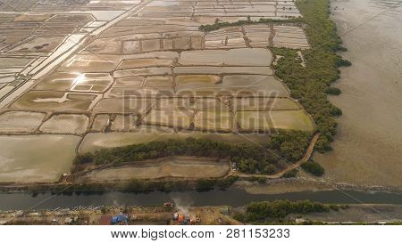 Aerial View Fish Farm With Ponds Growing Fish And Shrimp And Other Seafood. Fish Hatchery Pond