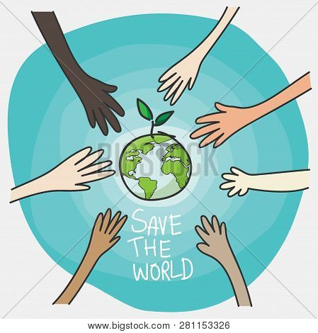 World Environment Day And Sustainable Environment Concept. People's Volunteer Hands Planting Green G