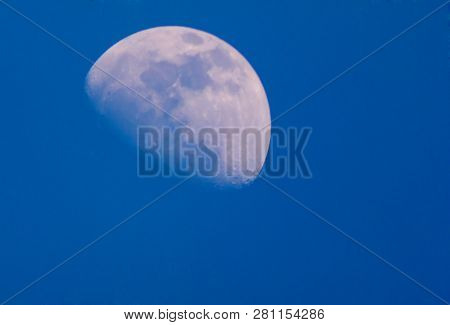 Half moon In the daytime with Sky Blue poster