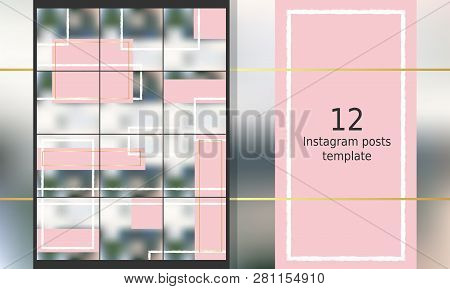 Cute And Feminine Instagram Puzzle In Pink, White And Gold. Editable Girlish Instagram Theme. Pack F
