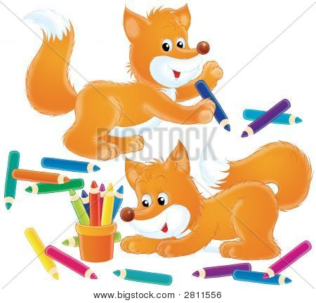 Fox And Pencils