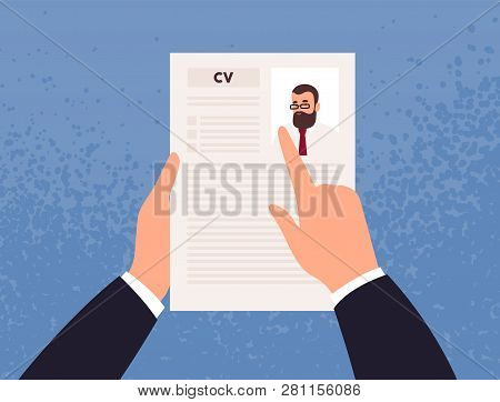 Hands Holding Cv Or Curriculum Vitae Of Candidate Or Applicant. Concept Of Job Application, Choice O