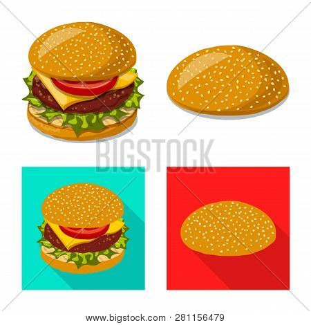 Vector Design Of Burger And Sandwich Symbol. Collection Of Burger And Slice Stock Symbol For Web.