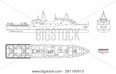 Outline Image Of Military Ship. Top, Front And Side View. Battleship 3d Model. Industrial Isolated D