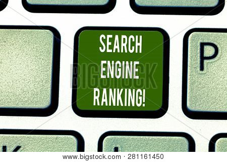Text Sign Showing Search Engine Ranking. Conceptual Photo Rank At Which Site Appears In The Search E