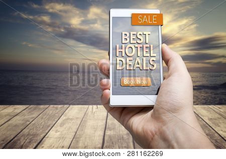 Best Hotel Deals. Hotel, Accommodation, Travel, Tourism Concept.