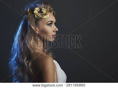 Portrait Goddess Young Woman On Dark Studio Shot