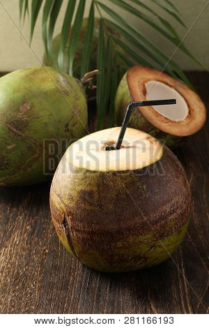 Tender Coconut Drink In A Green Coconut