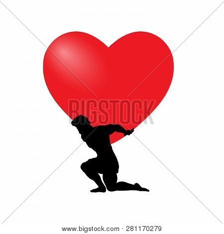 Atlas Titan Man God Holds Heart Silhouette Ancient Mythology Fantasy. Vector Illustration.
