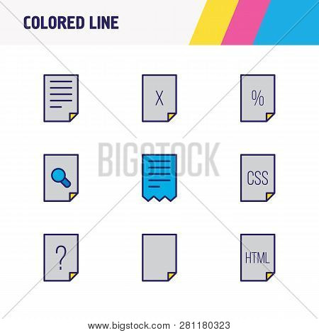 Vector Illustration Of 9 File Icons Colored Line. Editable Set Of Html, Corrupted File, Contract And