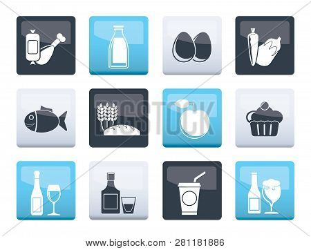 Food, Drink And Aliments Icons Over Color Background - Vector Icon Set