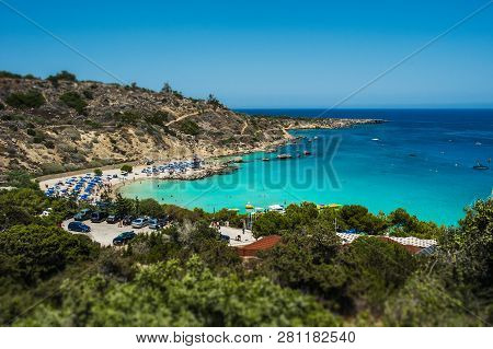 Beautiful Beach In The Blue Lagoon On The Sea. Seascape. Beautiful Coast Of Cyprus. Resort Area In C