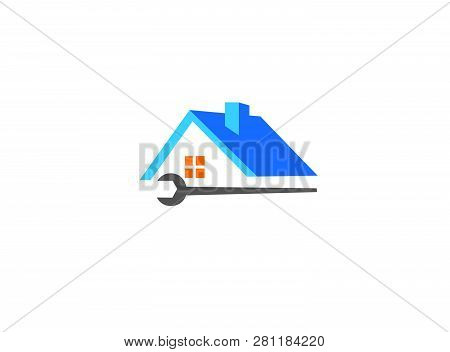 House And Home Service A Roof And Tool For Logo Design