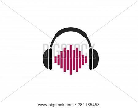 Headphones With Rhythm Beating A Headset For Logo Design